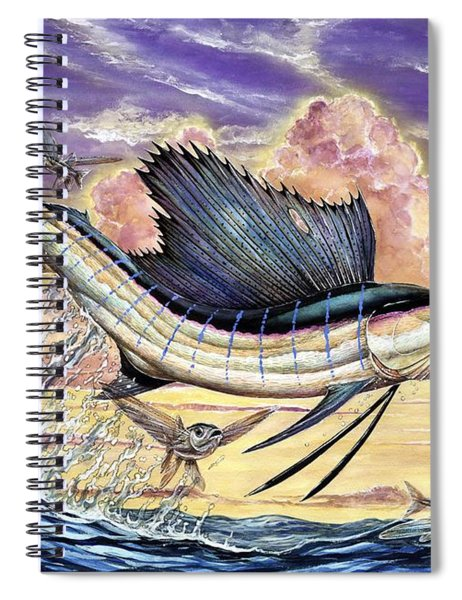 Sailfish And Flying Fish In The Sunset Spiral Notebook