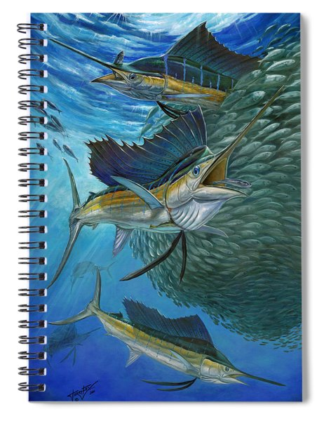 Sailfish With A Ball Of Bait Spiral Notebook