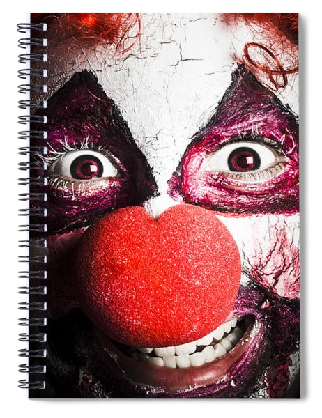 Scary And Evil Clown Smiling In Dark Spooky Style Spiral Notebook