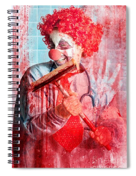 Scary Hospital Clown Cleaning Blood Smeared Window Spiral Notebook