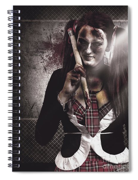 Scary Zombie School Student Holding Monster Pencil Spiral Notebook
