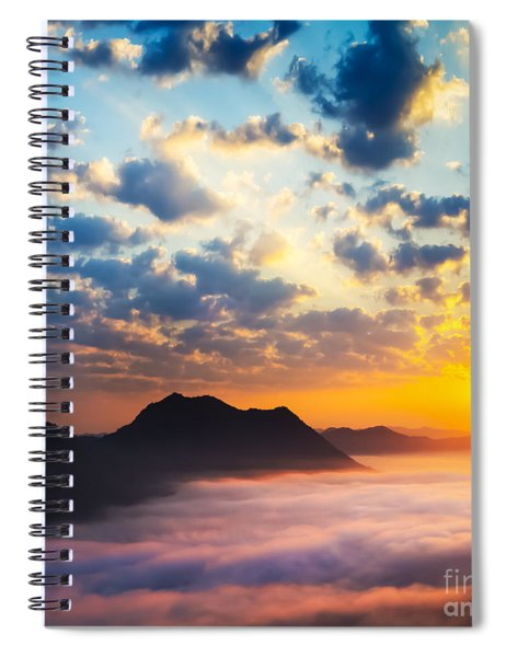 Sea Of Clouds On Sunrise With Ray Lighting Spiral Notebook