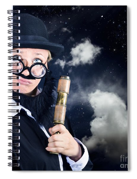 Star Gazing Astronomer With Vintage Telescope Spiral Notebook