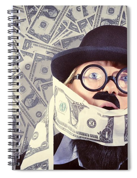 Stressed Business Man Drowning In Financial Debt Spiral Notebook