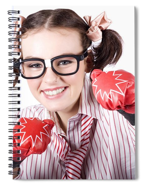 Strong Driven Business Woman Wearing Boxing Gloves Spiral Notebook