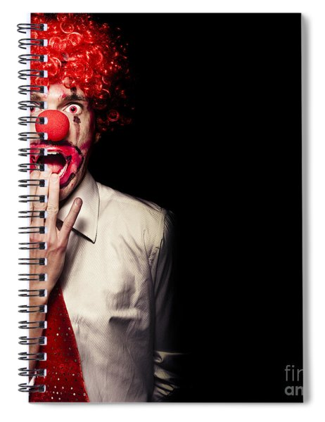 Surprised Clown Isolated Over A Black Background Spiral Notebook