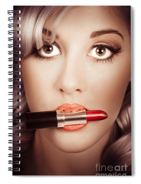 Surprised Pinup Girl With Lipstick Makeup In Mouth Spiral Notebook