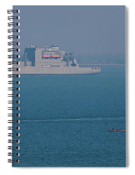 View Of Boats At Singapore Shipping Spiral Notebook