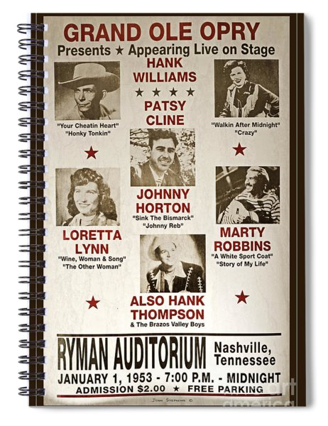 Vintage 1953 Grand Ole Opry Poster Spiral Notebook