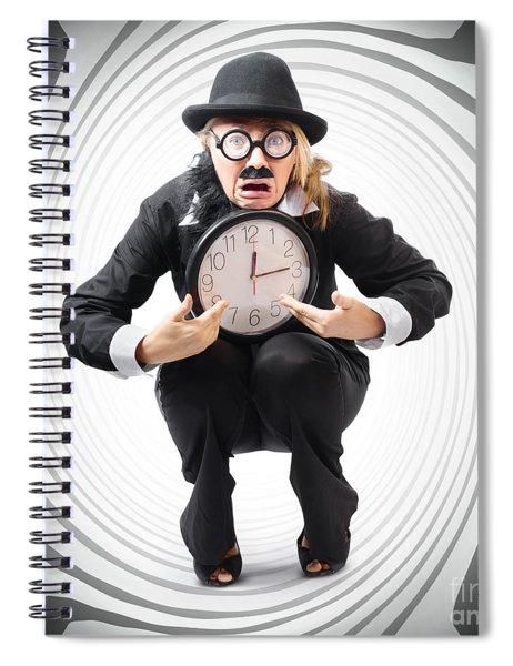 Vintage Business Man Stuck With Clock. Time Crunch Spiral Notebook