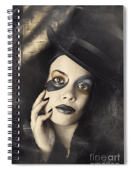 Vintage Fashion Girl In Creative Makeup And Tophat Spiral Notebook