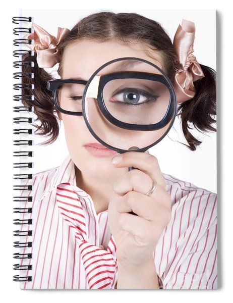 Watchful Business Woman Performing System Audit Spiral Notebook