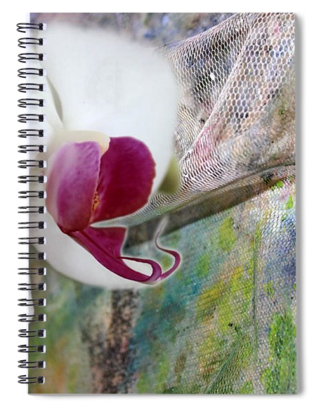 White Orchid Abstract Spiral Notebook