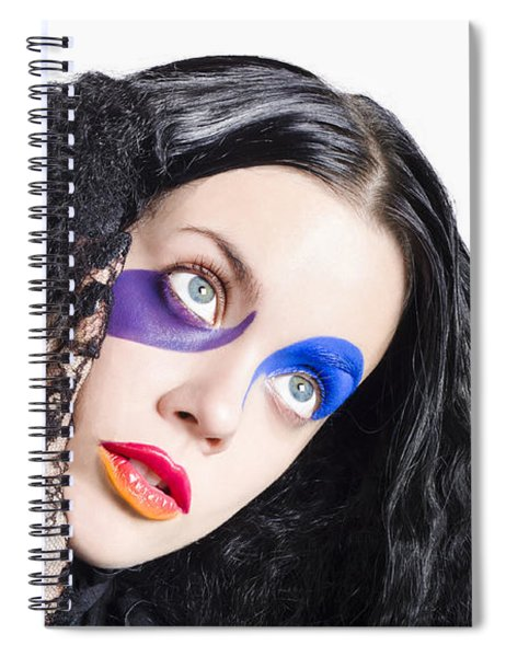 Woman In Colorful Fashion Make Up Spiral Notebook