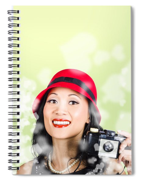 Woman Taking Photographs With Vintage Camera Spiral Notebook
