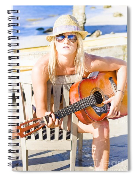 Woman With Guitar Spiral Notebook