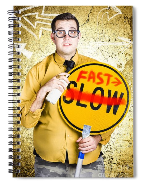 Worker Showing Sign To Fast Track Productivity Spiral Notebook