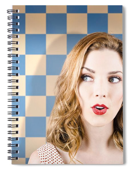 Young Beautiful Retro Girl Looking Surprised Spiral Notebook