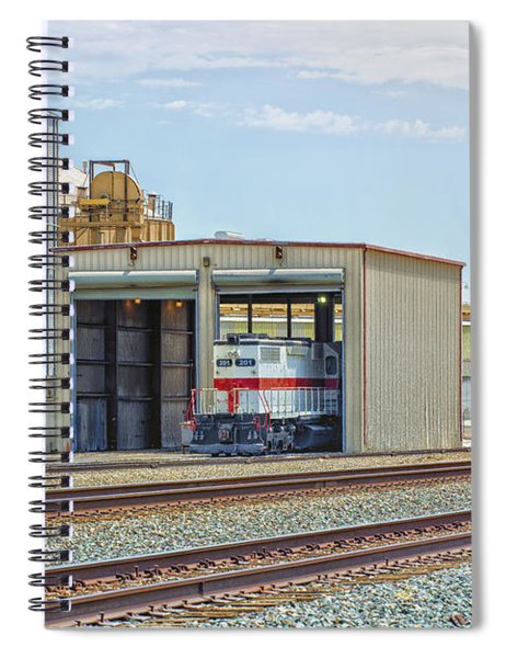Spiral Notebook featuring the photograph Foster Farms Locomotives by Jim Thompson
