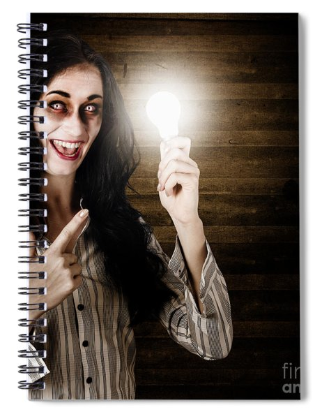Zombie Girl Holding Lightbulb With Bad Idea Spiral Notebook