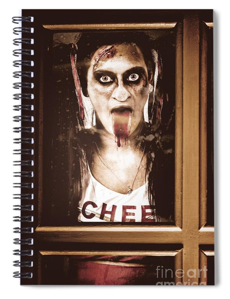 Zombie School Girl Pulling A Funny Face On Glass Spiral Notebook