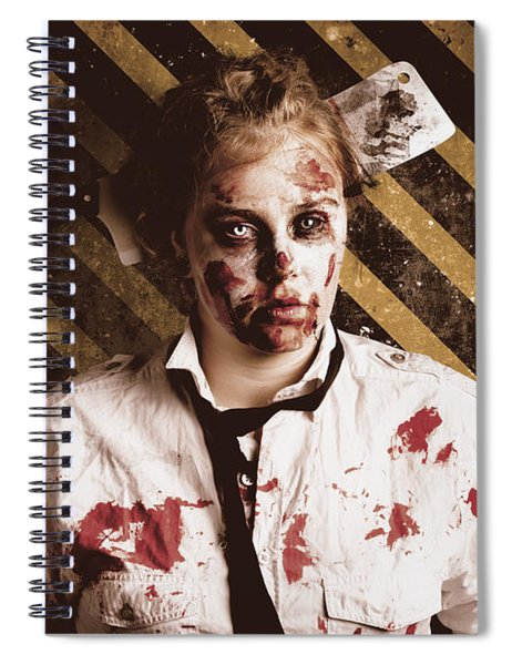 Zombie Standing On Outbreak Warning Background Spiral Notebook