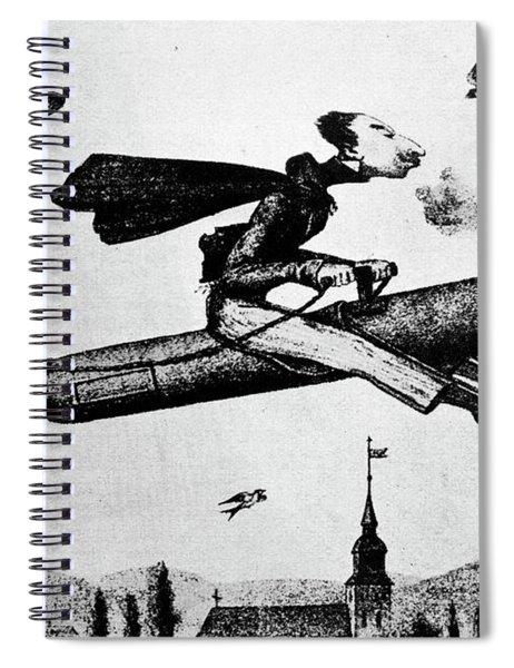 1840s 1800s Illustration Cartoon Of Man Spiral Notebook