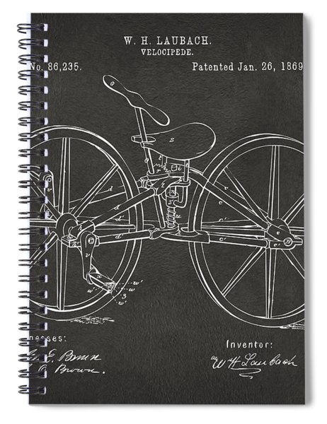 1869 Velocipede Bicycle Patent Artwork - Gray Spiral Notebook