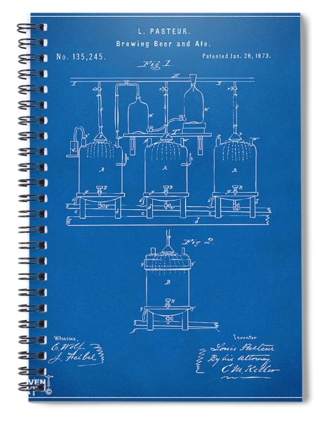 1873 Brewing Beer And Ale Patent Artwork - Blueprint Spiral Notebook