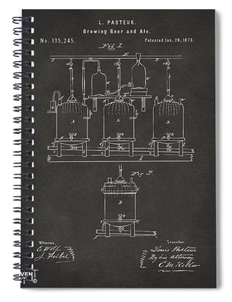 1873 Brewing Beer And Ale Patent Artwork - Gray Spiral Notebook