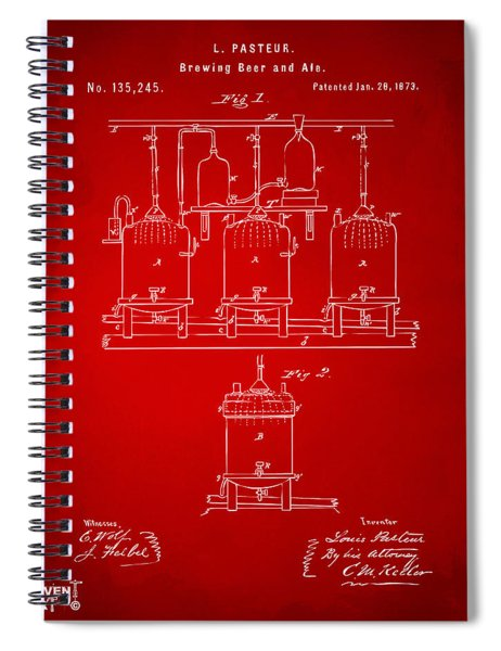 1873 Brewing Beer And Ale Patent Artwork - Red Spiral Notebook