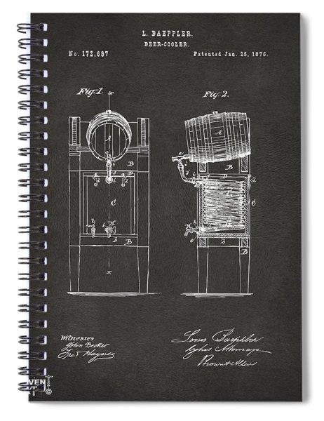 1876 Beer Keg Cooler Patent Artwork - Gray Spiral Notebook