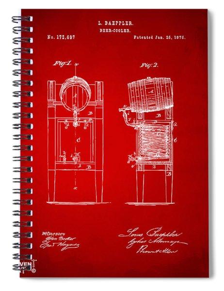 1876 Beer Keg Cooler Patent Artwork Red Spiral Notebook
