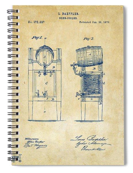 1876 Beer Keg Cooler Patent Artwork - Vintage Spiral Notebook