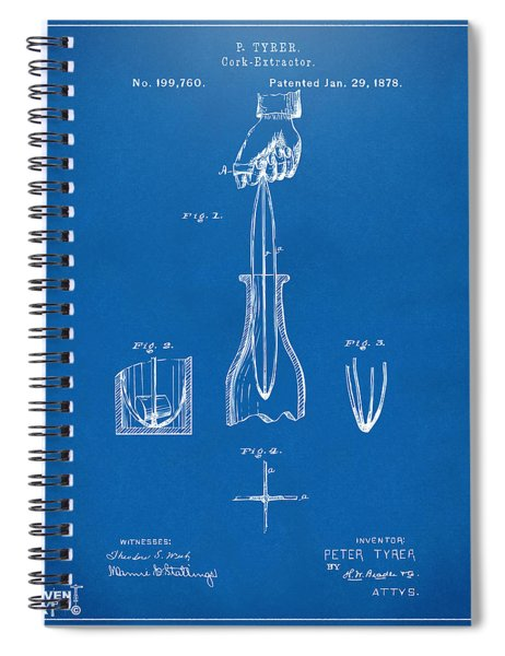 1878 Cork Extractor Patent Artwork - Blueprint Spiral Notebook
