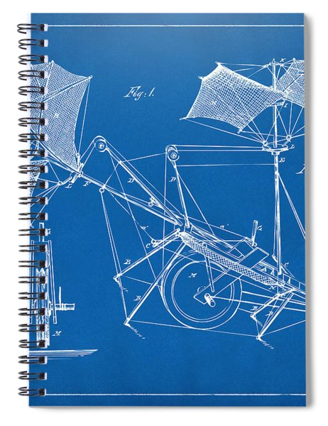 1879 Quinby Aerial Ship Patent Minimal - Blueprint Spiral Notebook