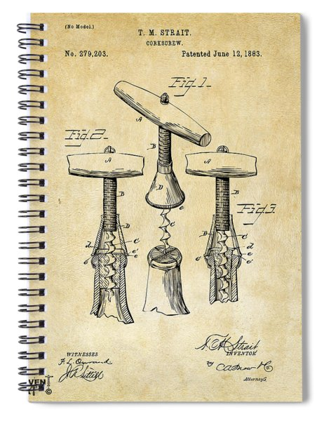 1883 Wine Corckscrew Patent Art - Vintage Black Spiral Notebook