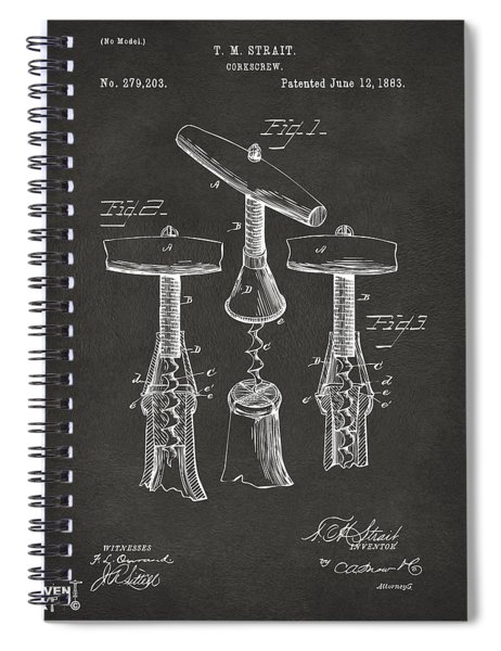 1883 Wine Corckscrew Patent Artwork - Gray Spiral Notebook