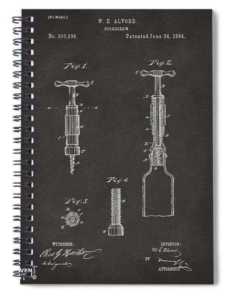 1884 Corkscrew Patent Artwork - Gray Spiral Notebook