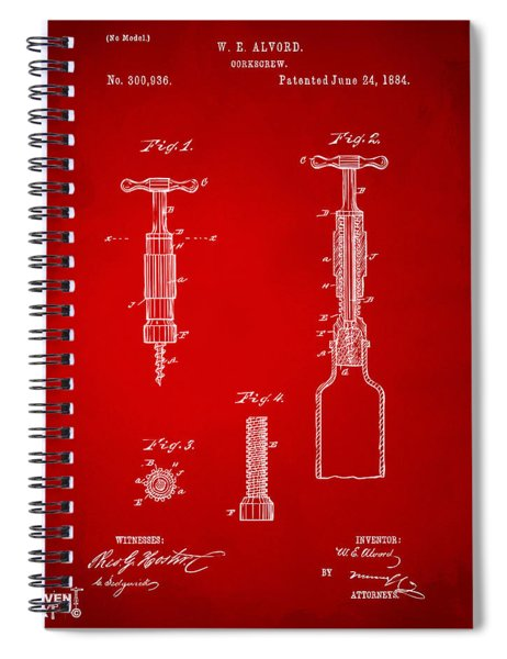 1884 Corkscrew Patent Artwork - Red Spiral Notebook