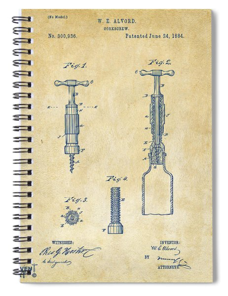 1884 Corkscrew Patent Artwork - Vintage Spiral Notebook