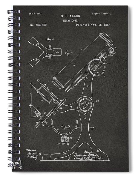 1886 Microscope Patent Artwork - Gray Spiral Notebook