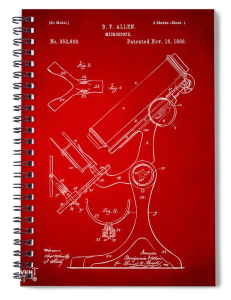 1886 Microscope Patent Artwork - Red Spiral Notebook