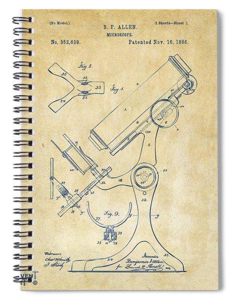 1886 Microscope Patent Artwork - Vintage Spiral Notebook