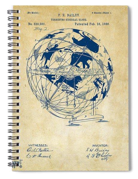 1886 Terrestro Sidereal Globe Patent Artwork - Vintage Spiral Notebook