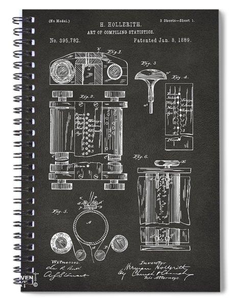 1889 First Computer Patent Gray Spiral Notebook