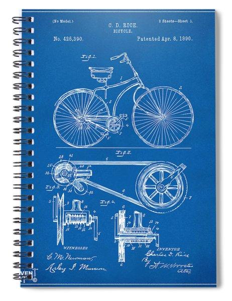 1890 Bicycle Patent Artwork - Blueprint Spiral Notebook