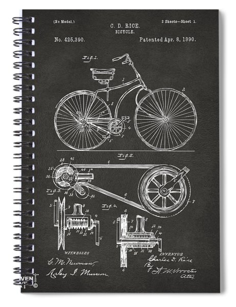 1890 Bicycle Patent Artwork - Gray Spiral Notebook
