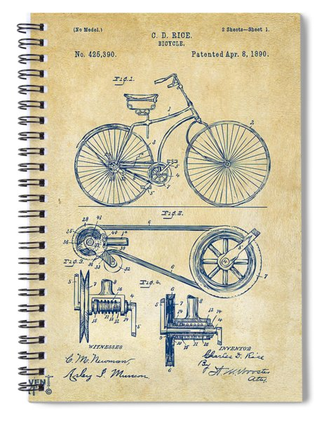 1890 Bicycle Patent Artwork - Vintage Spiral Notebook