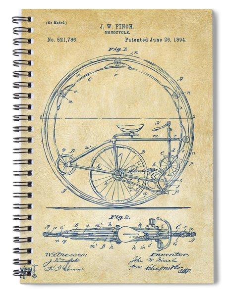 1894 Monocycle Patent Artwork Vintage Spiral Notebook